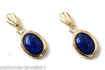 9ct Gold Lapis Lazuli Oval drop earrings Gift Boxed Made in UK