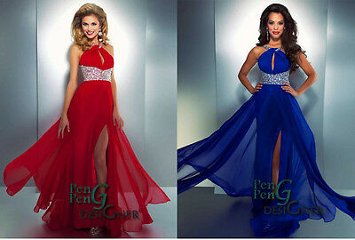 New Chiffon Beaded Formal Evening Bridesmaid Prom Party Dress Gown size 6 -16