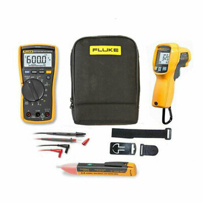 Fluke 117 True RMS Multimeter KITM w/ 62 MAX Plus Thermometer, TPAK3, 1AC & Case