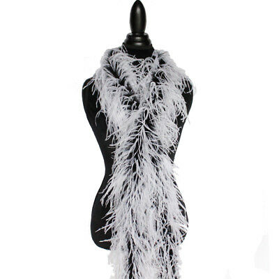 """2plys 72"""" White/Black Ostrich Feather Boa High Quality Cynthia's Feathers, NEW!"""