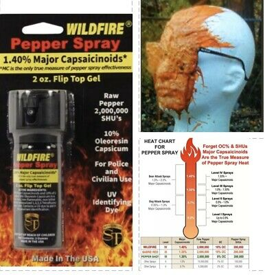 HOT! Wildfire 18% STICKY Pepper GEL Spray FLIP TOP 2 oz Self Home Defense weapon