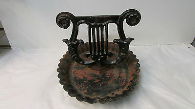 Antique Cast Iron Heavy Duty Boot Scraper with Lyre Design on Plate