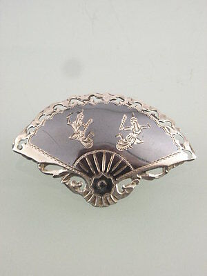 Vintage Sterling Silver Siam Thai Niello Goddess Fan Brooch Pin