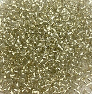 100g SILVER SILVER-LINED glass seed beads - choose size 6/0, 8/0, 11/0 (4,3,2mm)