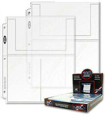 50 - 3 Pocket 4x6 Photo Postcard Page Protector by BCW Pro3T  fits 3 ring binder