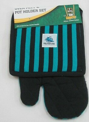 Cronulla Sharks Nrl Team Logo Oven Mitt Glove & Pot Holder Kitchen Chef Set