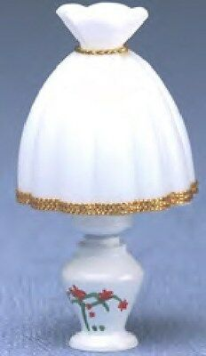 Dollhouse Miniature TABLE LAMP, WHITE Painted Design - MH663