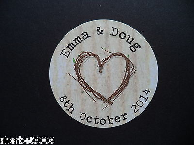 24 x 40mm Personalised Round Stickers Wedding Shabby Vintage Rustic Heart Labels