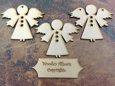 10x Wooden MDF Angel Craft Shape. Christmas embellishments 100x85mm 4mm thick