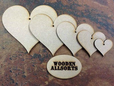 50cms * 4mm 10 x HEARTS Wooden MDF * 2cm Craft Shapes Decoration MDF Tags