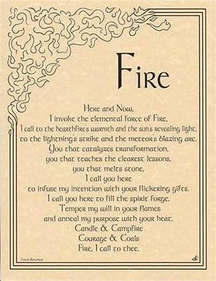 FIRE INVOCATION Parchment Page for Book of Shadows, Altar~