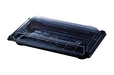 Small Food Trays With Black Plastic Bases And Clear Plastic Lids For Cold Food