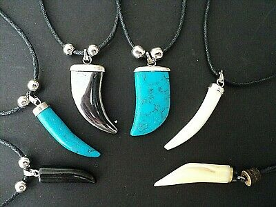 New Tooth Shaped Pendant Necklace Unisex Surfer Biker Youth Fancy Dress