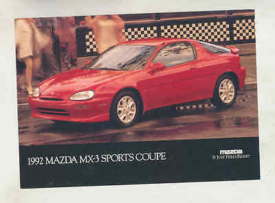 1992 Mazda MX3 Large Factory Postcard mx8685