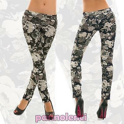 Leggings leggins pantaloni donna fantasia floreale moda nuovi AS-5208