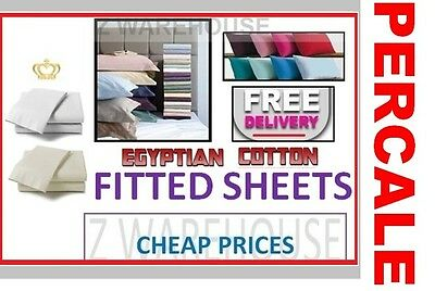 100% Egyptian Cotton Fitted Bed Sheets Single 4FT Small Double King Super King