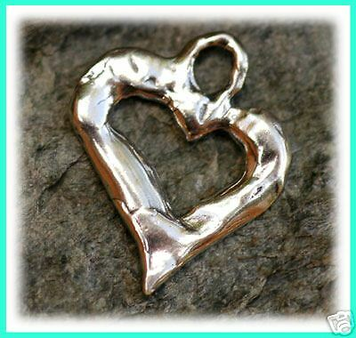 Handcrafted Artisan Sterling BE TRUE Open Heart Charm
