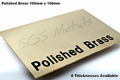 100 x 100 mm - Polished Brass Sheet Plate Shim 0.9 1.2 1.5 2.0 2.5 & 3.0mm Thick