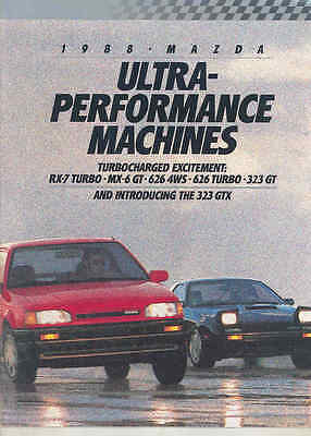 1988 Mazda RX7 Turbo MX6 GT 626 Turbo 4WS 323 GT GTX Performance Brochure mx8987