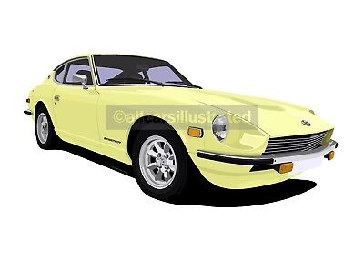 Datsun 240Z Car Art Print Picture (Size A4). Personalise It!