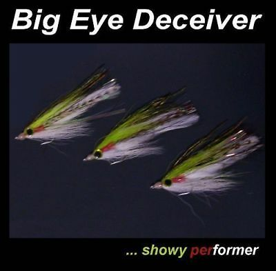 3 Chartreuse BIG EYE DECEIVER FLIES for fly fishing rod reel