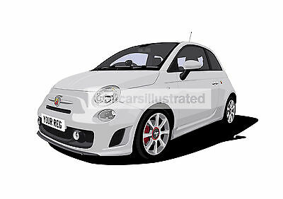 Fiat 500 Abarth Graphic Car Art Print Picture (Size A4). Personalise It!