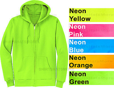 a3186f8bcedc Mens Full Zip Hooded Sweatshirt NEON Hoodie Hoody Sizes S-4XL Cotton/Poly  NEW