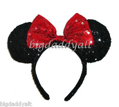 New Disney Park Christmas Holiday Minnie Mouse Sequin Ear Headband Bow Red Black