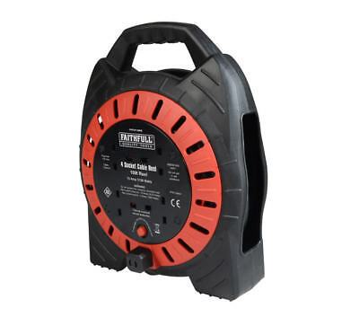 FAITHFULL 10m 33' 4-Gang Socket 3120w Extension Cable Lead Reel, FPPCR10MSE