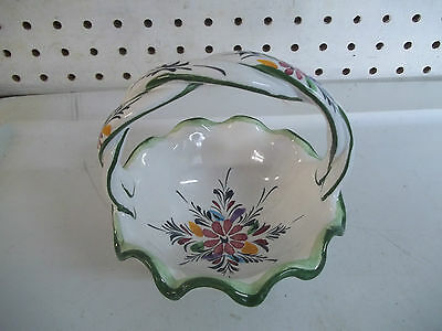 Vintage Pottery hand Painted Braided handle Basket Portugal