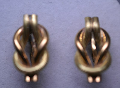 Vintage Yellow & Rose Gold-Filled Square Or Reef Knot Twist Screwback Earrings
