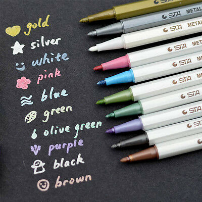 Metallic Marker Pens Gold Silver White Pink Color Ink Scrapbook Card Making