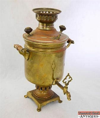 Antique Large Russian Brass 17 Inch Samovar Water Boiler Coffee Tea Dispenser