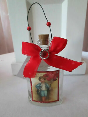 YOUR CHOICE - Victorian Valentines Day Glass Bottle Message Ornaments, New