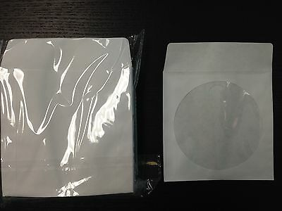 1000 CD/DVD White Paper Sleeve Plastic Clear Window with Flap Envelopes New