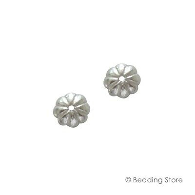 2 20 or 100 925 Sterling Silver 6mm Bead Caps Flower Beading Findings 0.7mm Hole