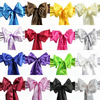 Wedding Party Banquet 6x108inch Satin Chair Cover Sash Bow Decoration X25