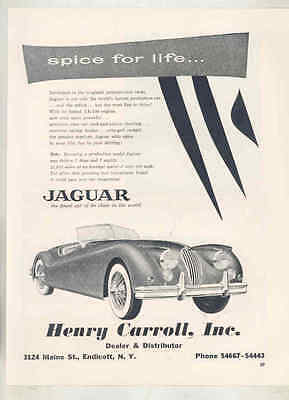 1955 Jaguar XK140 Roadster Henry Carroll Endicott NY Dealer Magazine Ad mx9018