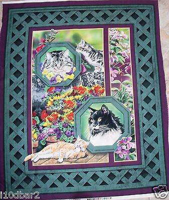 HUGE CAT FABRIC PANEL QUILT TOP wallhanging  WILD WINGS CAT NAP NEW