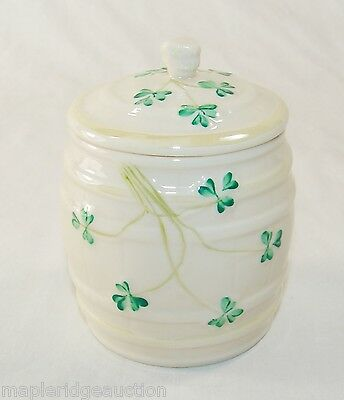 Vintage Belleek Shamrock Barrel Marmalade/Condiment Jar, Jam/Honey Irish China