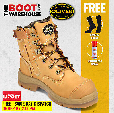 Oliver Work Boots, 55332z, Steel Toe Cap Safety, Side Zip,   FREE SOCKS