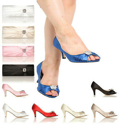 New Ladies Bridal Shoes Satin Bridesmaid Heel Occasion Prom Party Wedding Shoes
