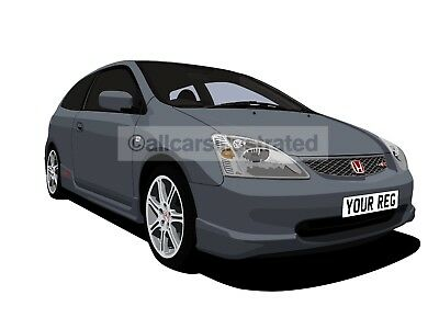Honda Civic Type R Graphic Car Art Print Picture (Size A4). Personalise It!