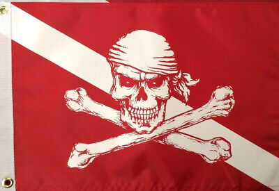 "Pirate flag Diver Down Red 12x18"" atv boat spearfishing scuba diving equip #520"