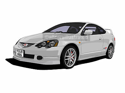 Honda Integra Type R Dc5 Car Art Print Picture (Size A4). Personalise It!