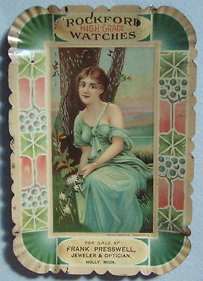 Excl Rockford Watches Tin Advertising Tip Tray Holly, Mich Pretty Vic Lady Excl