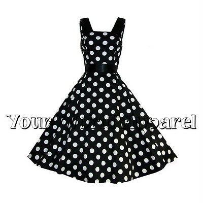 6be6be9ae9 H&R London Black Big White Polka Dot Dress Vintage Retro Swing Prom Goth