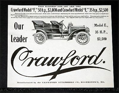 """1907 Old Magazine Print Ad, Crawford Automobiles, Model """"f"""" 50 Hp And """"e"""" 35 Hp!"""