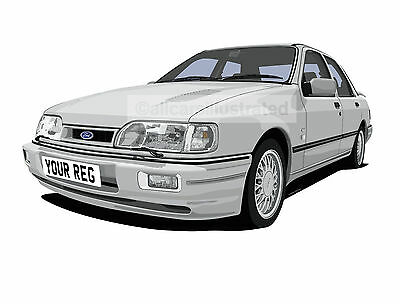 Sierra Sapphire Rs Cosworth Picture (A4 Size) Car Art Print. Personalise It