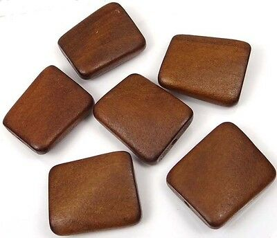 35x30mm Wavy Rectangle Wood Pendant Focal Beads (6) - Brown Bear